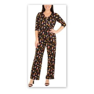 NY Collection 1XP Jumpsuit Dress BlackYellow Dots